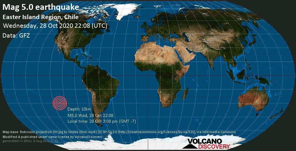 Moderate mag. 5.0 earthquake  - 3907 km west of Santiago, Santiago Metropolitan, Chile, on 28 Oct 3:08 pm (GMT -7)