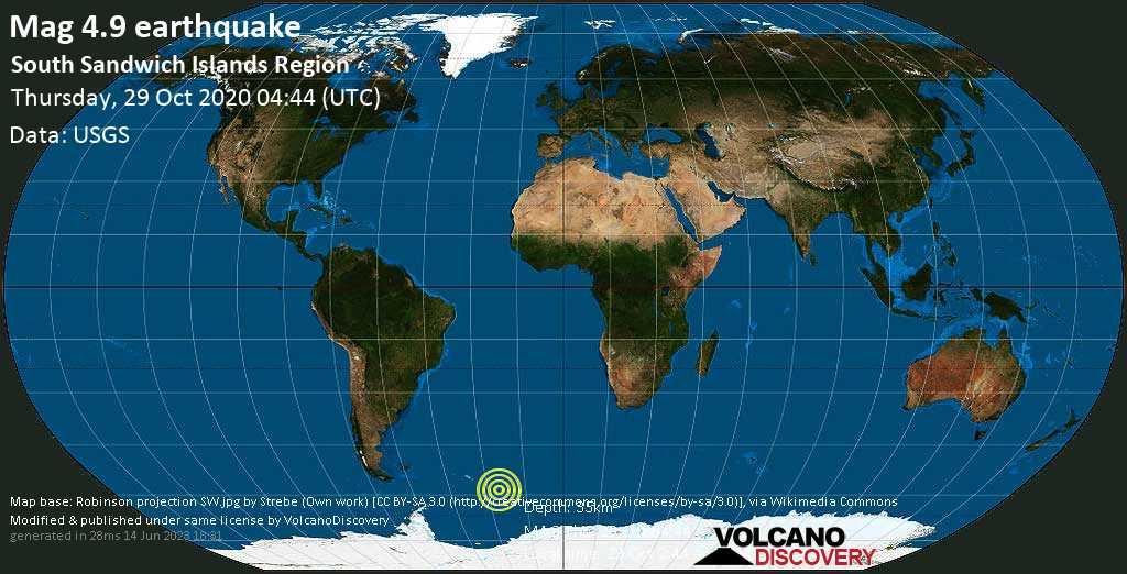 Moderate mag. 4.9 earthquake - South Atlantic Ocean, South Georgia & South Sandwich Islands, on Thursday, 29 Oct 2020 2:44 am (GMT -2)