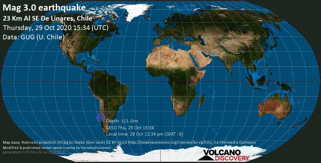 Mag. 3.0 earthquake  - Tasman Sea, Maule Region, 23 km southeast of Linares (Maule), Chile, on 29 Oct 12:34 pm (GMT -3)