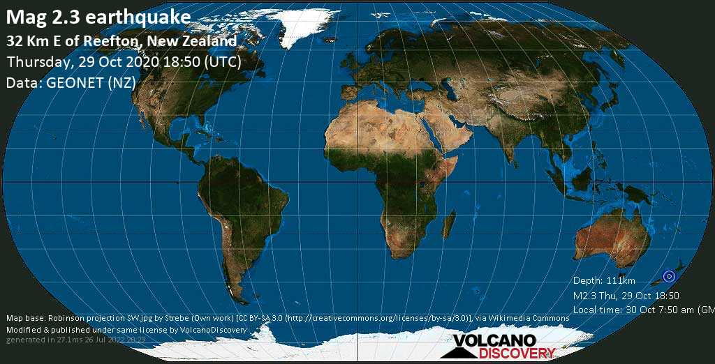 Mag. 2.3 earthquake  - 6.4 km north of Warwick Junction, Buller District, West Coast, New Zealand, on 30 Oct 7:50 am (GMT +13)