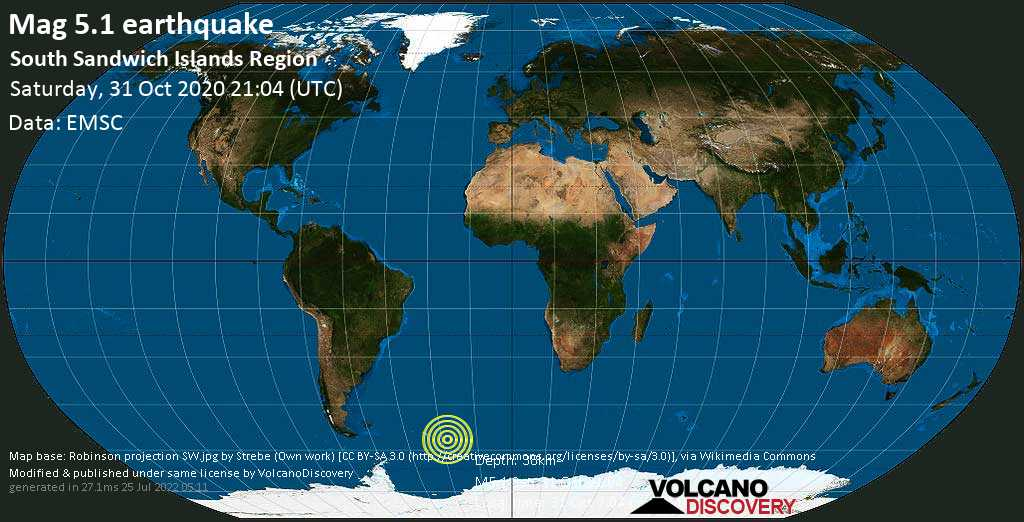 Moderate mag. 5.1 earthquake - South Sandwich Islands Region on Saturday, 31 Oct 2020 7:04 pm (GMT -2)