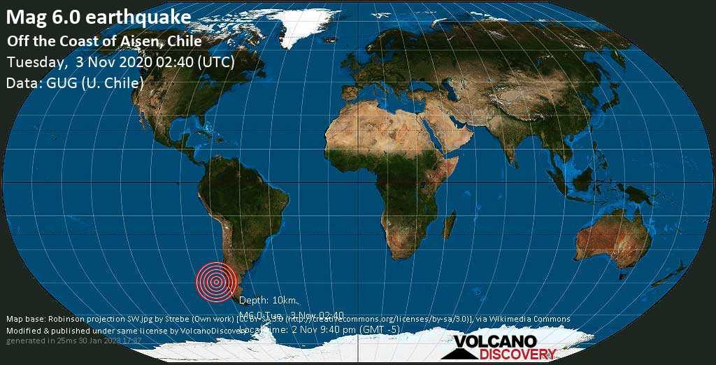 Sehr starkes Magnitude 6.0 Erdbeben - South Pacific Ocean, 478 km südwestlich von Castro, Chiloe, Los Lagos Region, Chile, am Montag,  2. Nov 2020 um 21:40 Lokalzeit