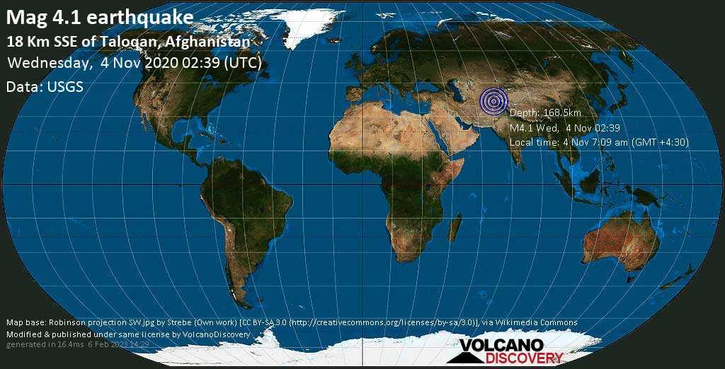 Light mag. 4.1 earthquake - 19 km south of Taloqan, Taluqan, Takhar, Afghanistan, on Wednesday, 4 Nov 2020 7:09 am (GMT +4:30)