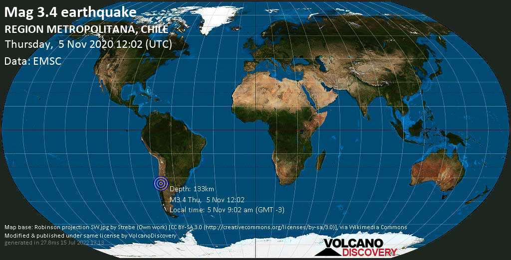 Minor mag. 3.4 earthquake - 37 km E of Santiago, Chile, on Thursday, 5 Nov 2020 9:02 am (GMT -3)