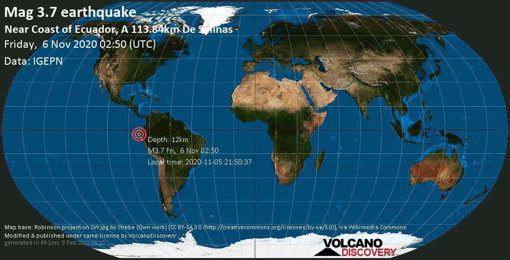 Light mag. 3.7 earthquake - 226 km west of Guayaquil, Guayas, Ecuador, on Thursday, 5 Nov 2020 9:50 pm (GMT -5)