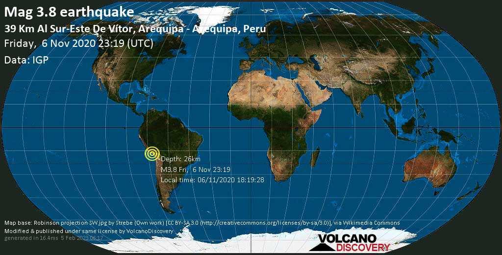 Débil terremoto magnitud 3.8 - 39 km SSW of Ciudad Satelite, Provincia de Arequipa, Peru, viernes, 06 nov. 2020