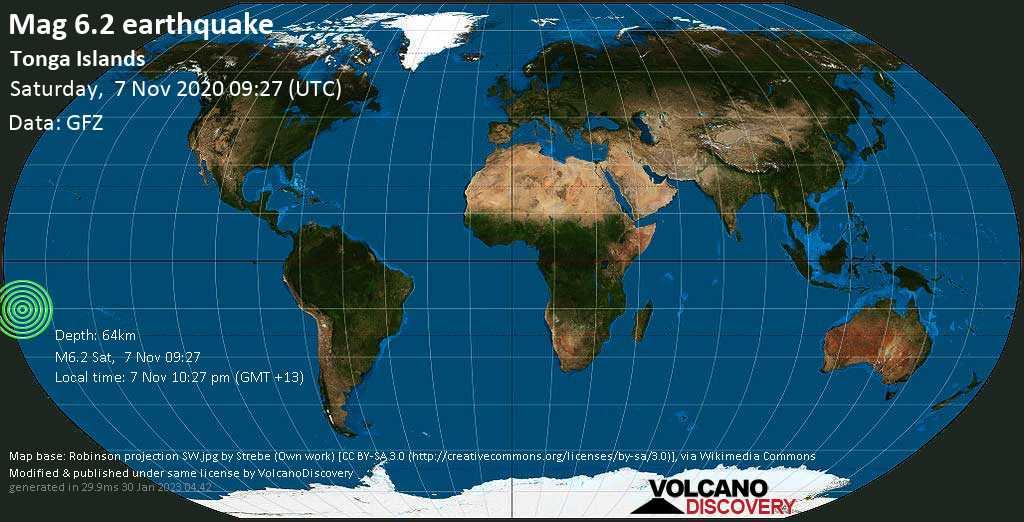 Starkes Magnitude 6.2 Erdbeben - South Pacific Ocean, 84 km nördlich von Hihifo, Niuas, Tonga, am Samstag,  7. Nov 2020 um 22:27 Lokalzeit