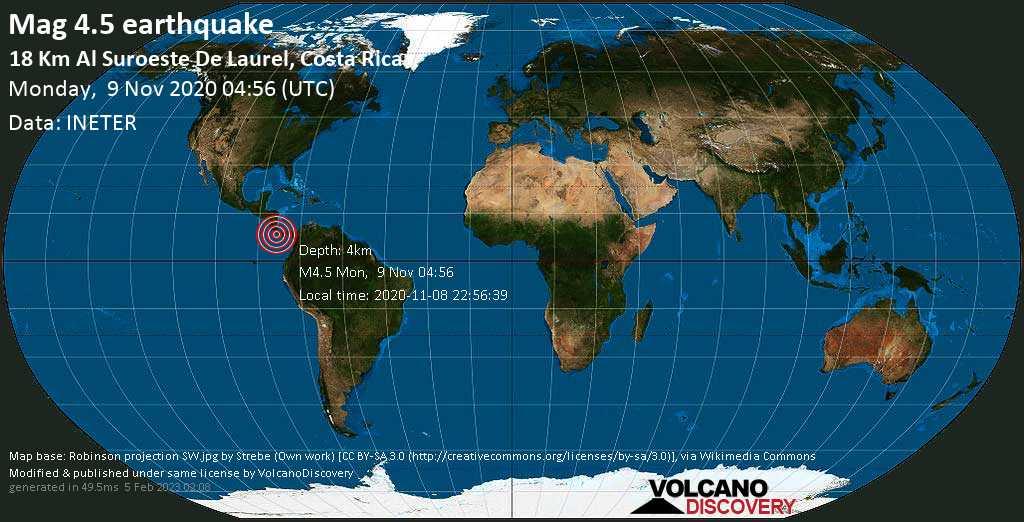 Moderate mag. 4.5 earthquake - 18 km west of Puerto Armuelles, Barú, Provincia de Chiriquí, Panama, on Sunday, Nov 8, 2020 10:56 pm (GMT -6)