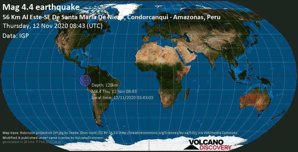 Leve terremoto magnitud 4.4 - Datem del Marañon, Loreto, 148 km NNW of Moyobamba, Provincia de Moyobamba, Region de San Martin, Peru, jueves, 12 nov. 2020