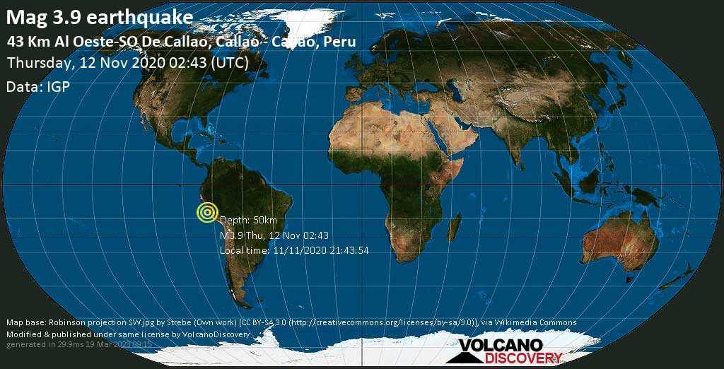 Débil terremoto magnitud 3.9 - South Pacific Ocean, 46 km WSW of El Callao, Peru, jueves, 12 nov. 2020