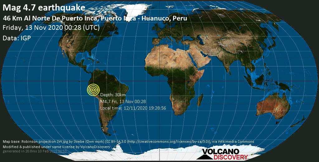 Leve terremoto magnitud 4.7 - Puerto Inca, Region de Huanuco, 77 km SSW of Pucallpa, Provincia de Coronel Portillo, Ucayali, Peru, viernes, 13 nov. 2020
