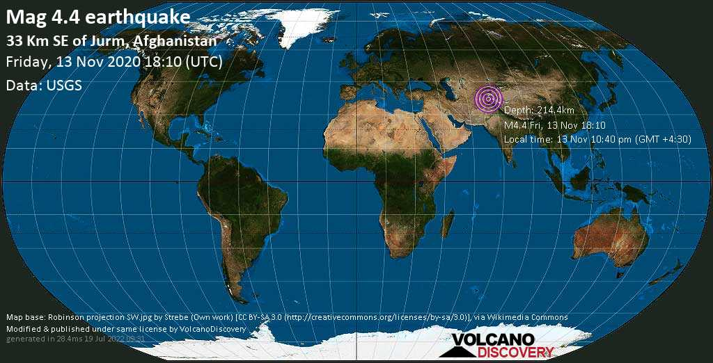 Sismo leggero mag. 4.4 - Wurduj, 34 km a sud-est da Jurm, Badakhshan, Afghanistan, venerdì, 13 novembre 2020