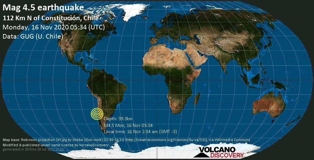 Mag. 4.5 earthquake  - 213 km southwest of Santiago, Región Metropolitana, Chile, on Monday, 16 Nov 2020 2:34 am (GMT -3)