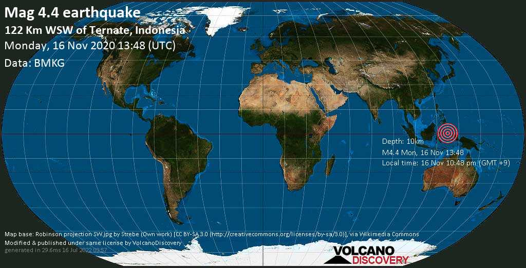 Moderate mag. 4.4 earthquake - 204 km southeast of Manado, Sulawesi Utara, Indonesia, on Monday, 16 Nov 2020 10:48 pm (GMT +9)