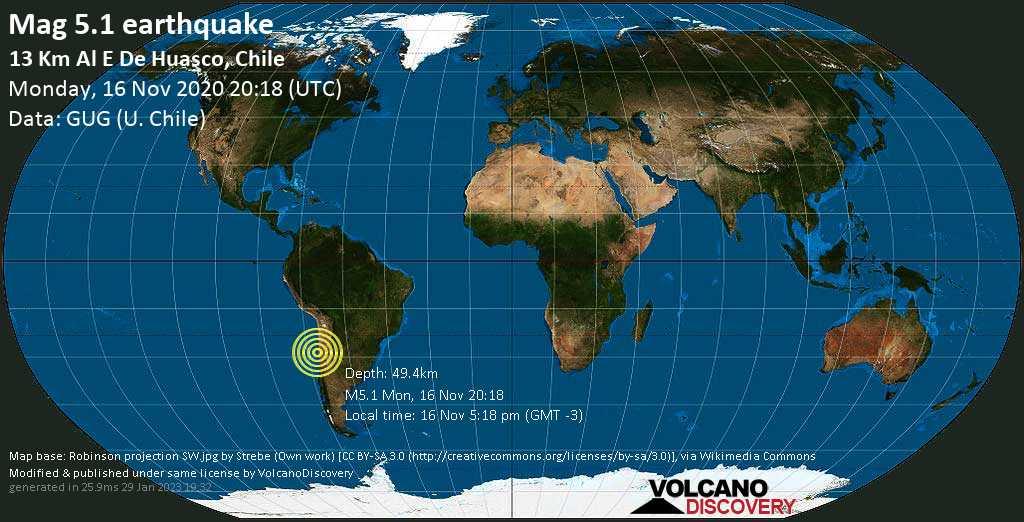 Moderate mag. 5.1 earthquake  - 37 km northwest of Vallenar, Huasco, Atacama, Chile, on Monday, 16 Nov 3.18 pm (GMT -5)