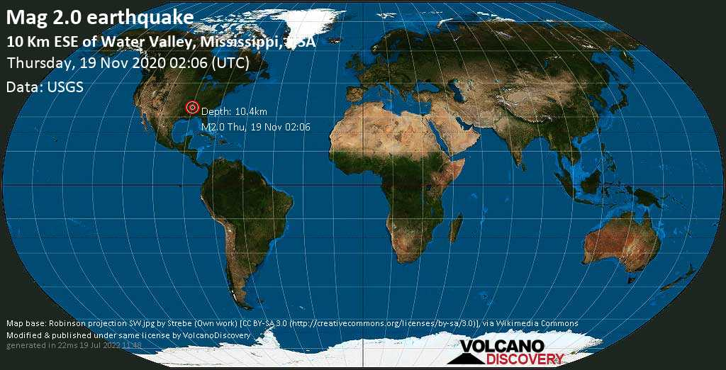 Minor mag. 2.0 earthquake  - 10 Km ESE of Water Valley, Mississippi, USA, on Thursday, 19 November 2020 at 02:06 (GMT)