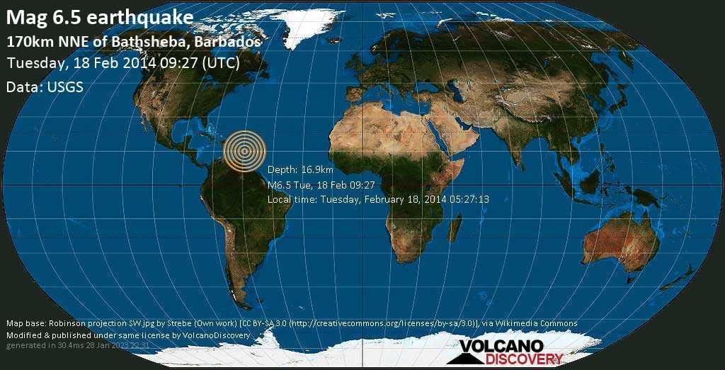 Forte terremoto magnitudine 6.5 - North Atlantic Ocean, 186 km a nord da Bridgetown, Saint Michael, Barbados, martedì, 18 febbraio 2014