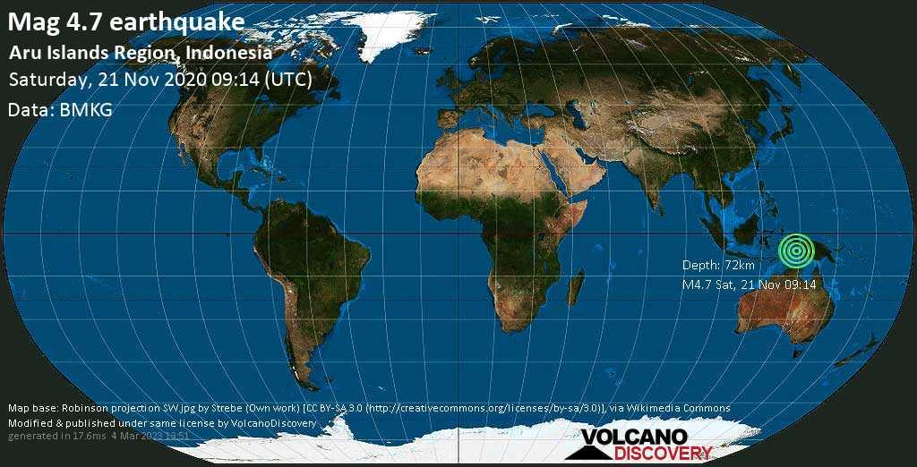 Sismo leggero mag. 4.7 - Aru Sea, 67 km a sud-est da Tual, Maluku, Indonesia, sábbato, 21 novembre 2020