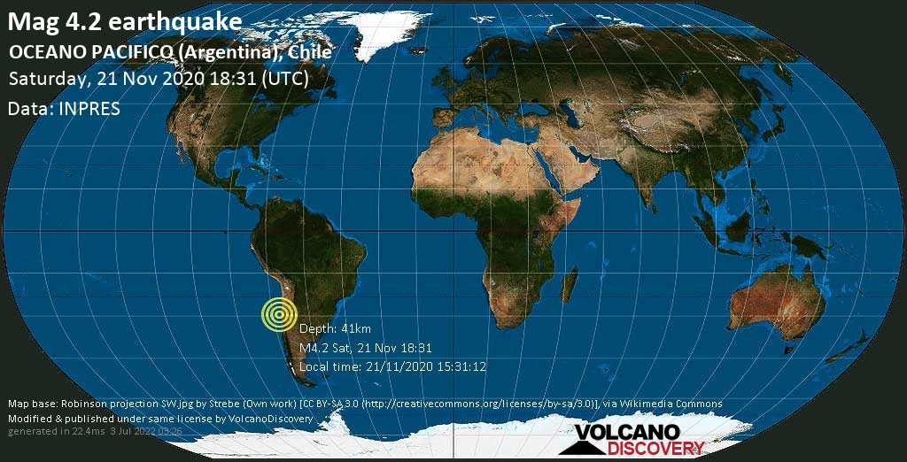 Mag. 4.2 earthquake  - 83 km northwest of Coquimbo, Elqui, Chile, on Saturday, 21 Nov 1.31 pm (GMT -5)