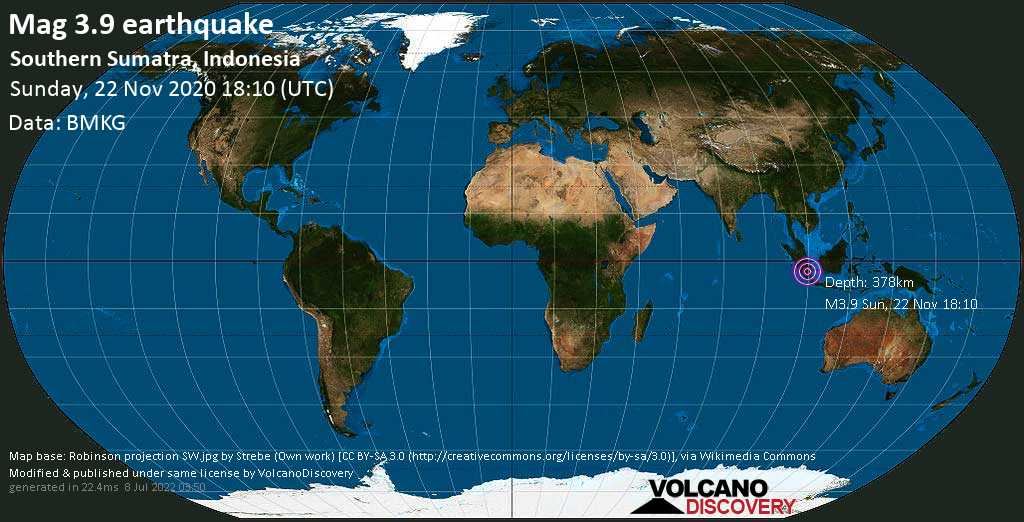Sismo minore mag. 3.9 - Sulawesi Sea, 47 km a ovest da Prabumulih, Sumatra Meridionale, Indonesia, domenica, 22 novembre 2020