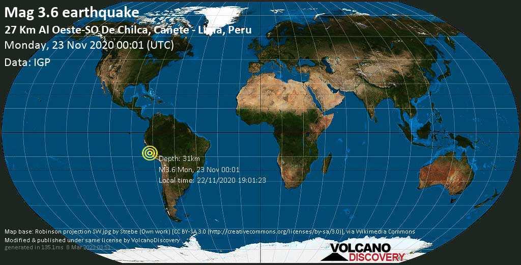 Débil terremoto magnitud 3.6 - South Pacific Ocean, 26 km WSW of Chilca, Provincia de Cañete, Lima region, Peru, lunes, 23 nov. 2020