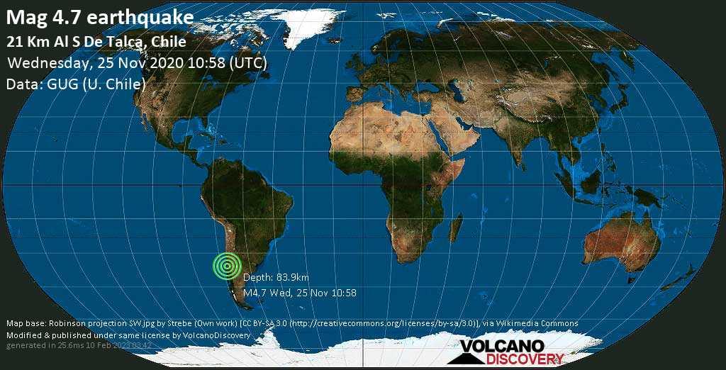 Mag. 4.7 earthquake  - Provincia de Linares, Maule Region, 14 km southwest of San Clemente (Talca, Maule), Chile, on Wednesday, 25 Nov 2020 7:58 am (GMT -3)