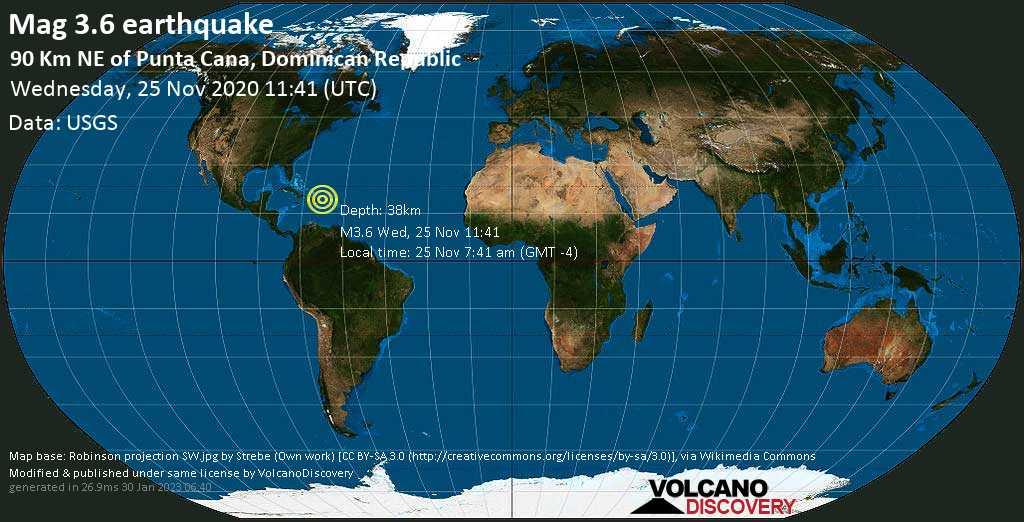 Mag. 3.6 earthquake  - North Atlantic Ocean, 92 km northwest of Aguadilla, Puerto Rico, on Wednesday, 25 Nov 2020 7:41 am (GMT -4)