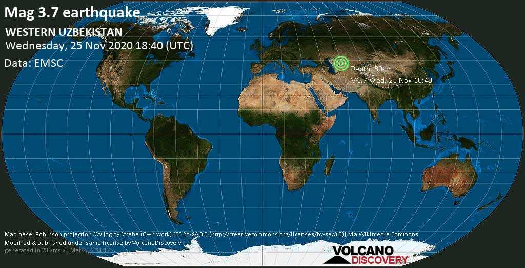 Mag. 3.7 earthquake  - Kegeyli tumani, Qoraqalpog'iston Respublikasi, 13 km northwest of Kegeyli Shahar, Uzbekistan, on Wednesday, 25 Nov 2020 11:40 pm (GMT +5)