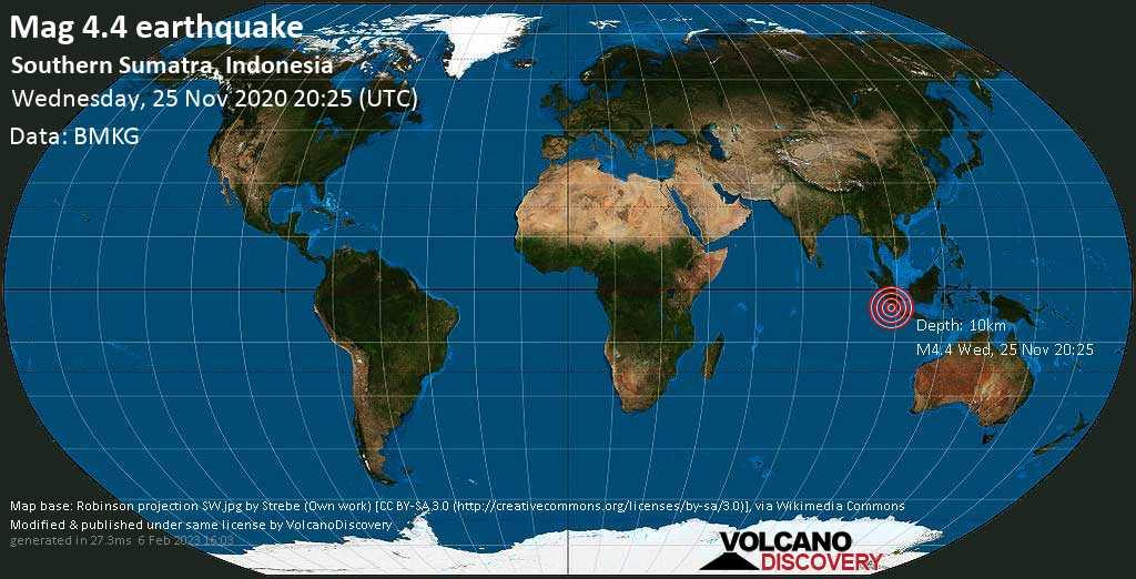 Moderate mag. 4.4 earthquake - Indian Ocean, 138 km southwest of Pagar Alam, Sumatera Selatan, Indonesia, on Thursday, 26 Nov 2020 3:25 am (GMT +7)
