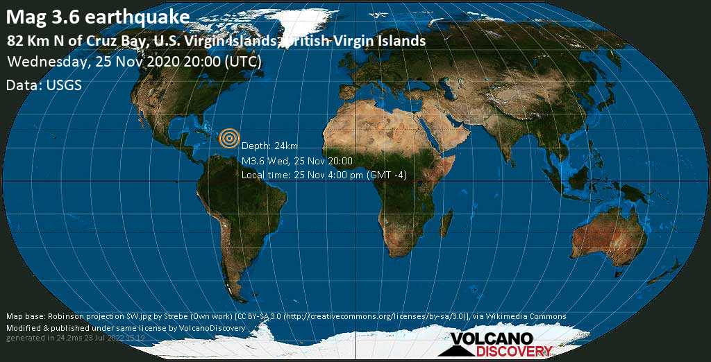 Mag. 3.6 earthquake  - North Atlantic Ocean, 72 km north of Road Town, Tortola, British Virgin Islands, on Wednesday, 25 Nov 2020 4:00 pm (GMT -4)