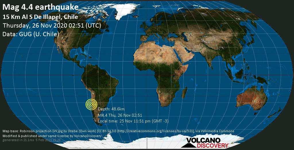 Mag. 4.4 earthquake  - 1.4 km northwest of Limahuida, Provincia de Choapa, Coquimbo Region, Chile, on Wednesday, 25 Nov 2020 11:51 pm (GMT -3)