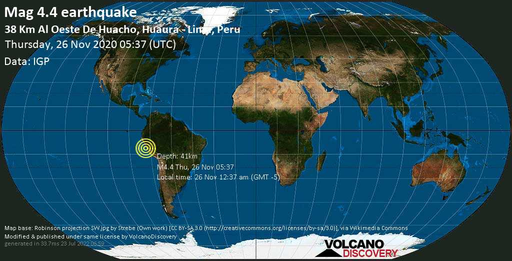 Mag. 4.4 earthquake  - South Pacific Ocean, 38 km west of Huacho, Huaura, Gobierno Regional de Lima, Peru, on Thursday, 26 Nov 2020 12:37 am (GMT -5)