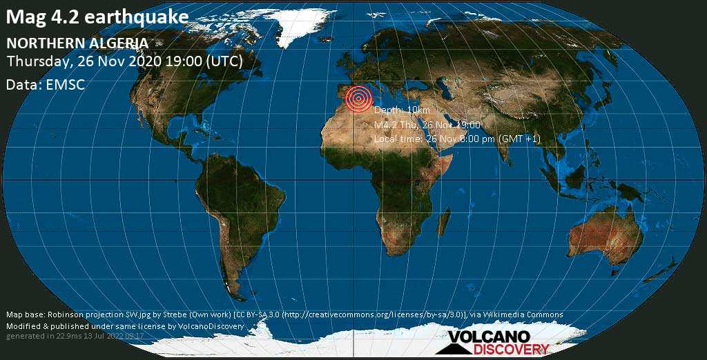 Mag. 4.2 earthquake  - Mouzaia, 13 km southwest of Blida (Itaborai), Blida, Algeria, on Thursday, 26 Nov 2020 8:00 pm (GMT +1)