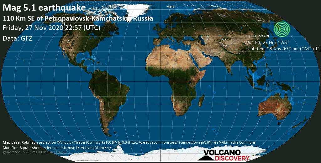 Moderate mag. 5.1 earthquake  - North Pacific Ocean, 104 km southeast of Petropavlovsk-Kamchatskiy, Kamchatka, Russia, on Saturday, 28 Nov 2020 9:57 am (GMT +11)