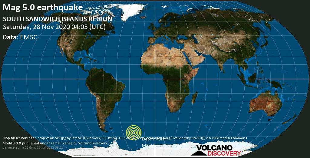 Moderate mag. 5.0 earthquake - South Atlantic Ocean, 450 km east of Grytviken, South Georgia & South Sandwich Islands, on Saturday, 28 Nov 2020 2:05 am (GMT -2)