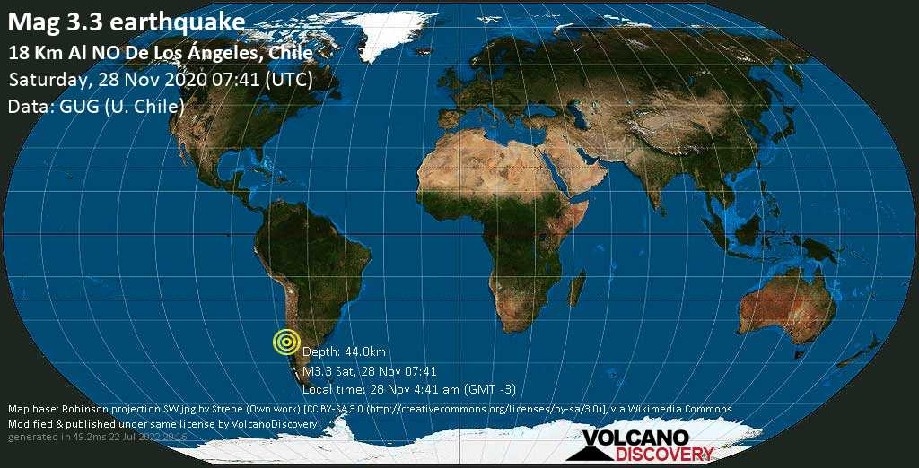 Weak mag. 3.3 earthquake - Tasman Sea, 17 km northwest of Los Angeles, Region del Biobio, Chile, on Saturday, 28 Nov 2020 4:41 am (GMT -3)