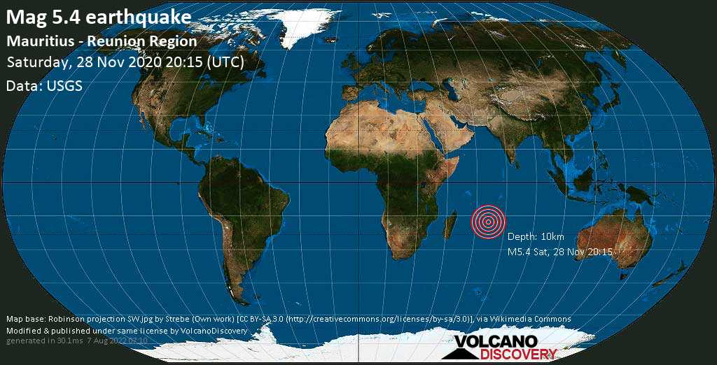 Moderate mag. 5.4 earthquake  - Indian Ocean, 962 km east of Port Louis, Port Louis District, Mauritius, on Sunday, 29 Nov 2020 12:15 am (GMT +4)