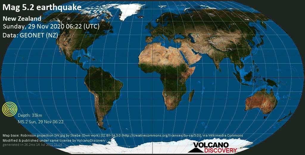Moderate mag. 5.2 earthquake  - South Pacific Ocean, 1131 km northeast of Wellington, Wellington City, New Zealand, on Sunday, 29 Nov 2020 7:22 pm (GMT +13)
