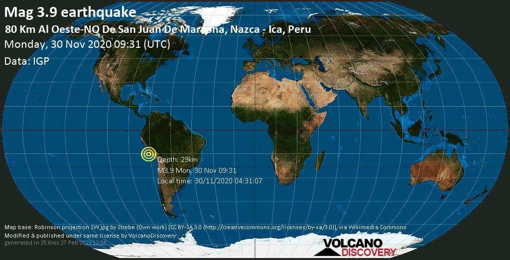 Mag. 3.9 earthquake  - South Pacific Ocean, 84 km west of Minas de Marcona, Nazca, Peru, on Monday, 30 Nov 2020 4:31 am (GMT -5)