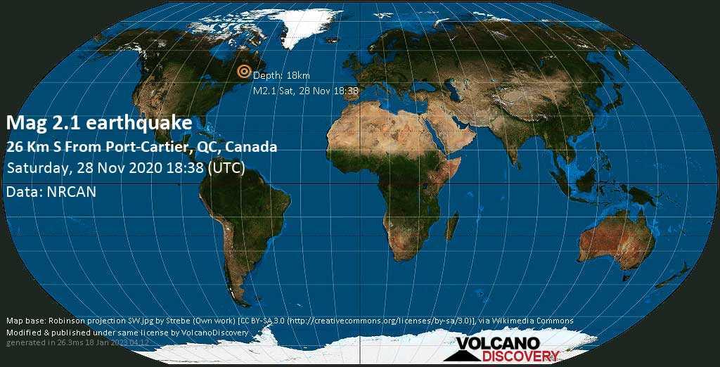 Sehr schwaches Beben Stärke 2.1 - 28 km südlich von Port-Cartier, Côte-Nord, Quebec, Kanada, am Samstag, 28. Nov 2020 um 18:38 GMT