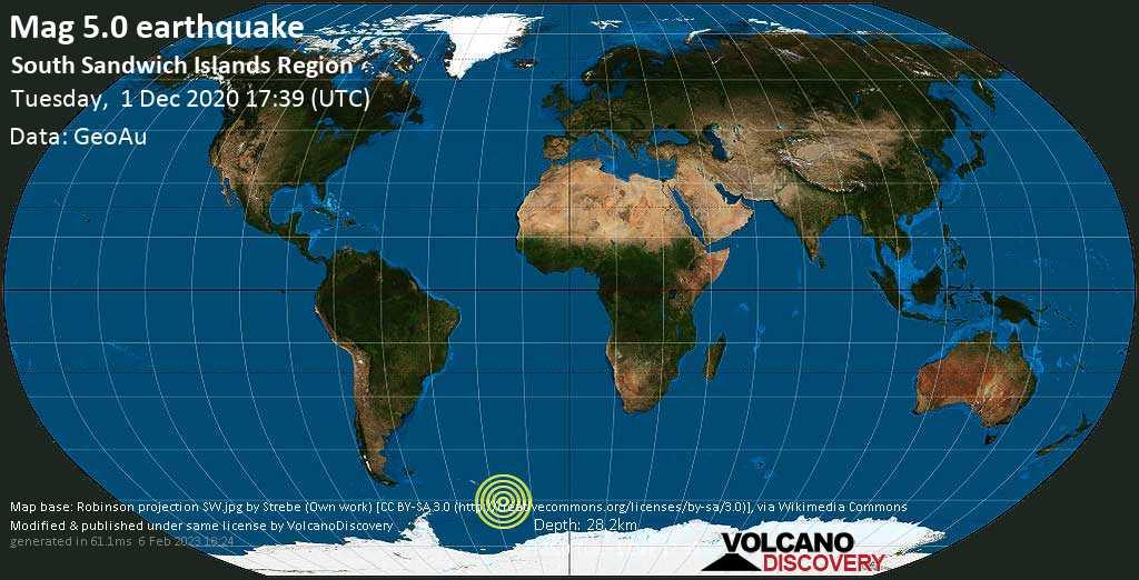 Moderate mag. 5.0 earthquake - South Atlantic Ocean, South Georgia & South Sandwich Islands, on Tuesday, 1 Dec 2020 3:39 pm (GMT -2)