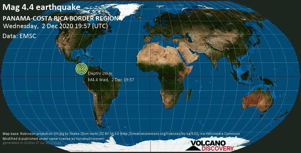 Moderate mag. 4.4 earthquake - 3.2 km southeast of Manaca Civil, Chiriquí, Panama, on Wednesday, Dec 2, 2020 2:57 pm (GMT -5)