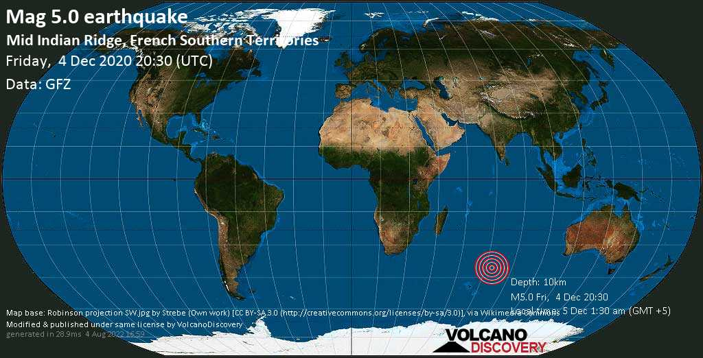Strong mag. 5.0 earthquake - Indian Ocean, French Southern Territories, on Saturday, 5 Dec 2020 1:30 am (GMT +5)