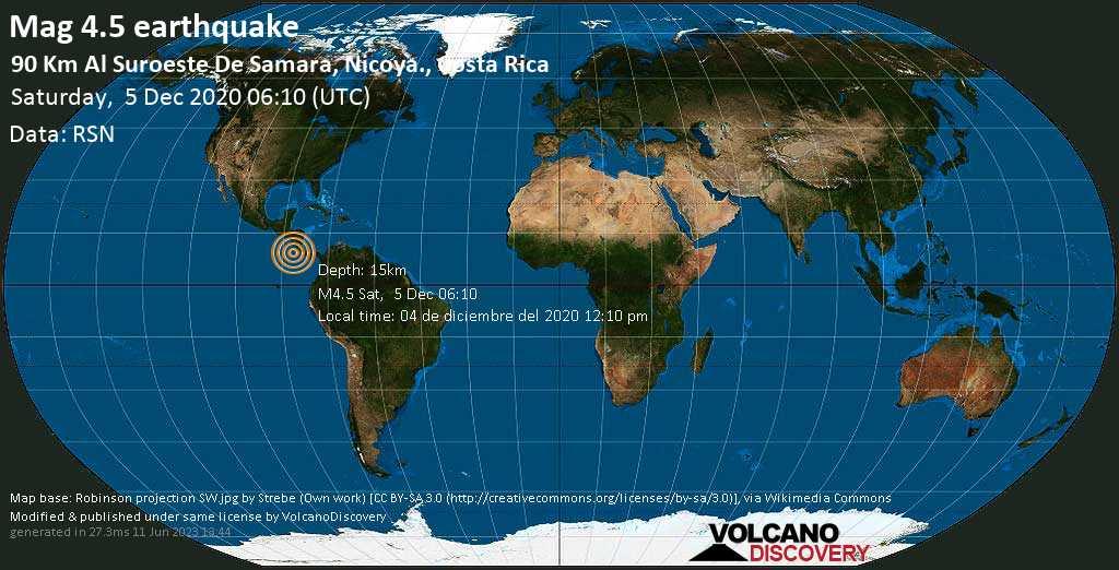 Mag. 4.5 earthquake  - North Pacific Ocean, 119 km southwest of Nicoya, Guanacaste, Costa Rica, on Saturday, 5 Dec 2020 12:10 am (GMT -6)