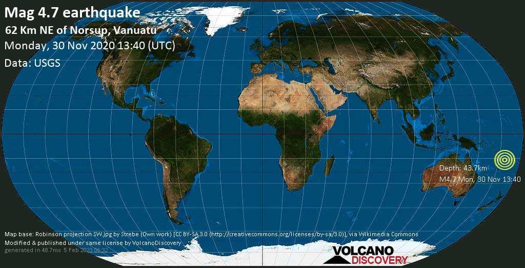 Moderate mag. 4.7 earthquake - Coral Sea, 69 km east of Luganville, Sanma, Vanuatu, on Monday, 30 November 2020 at 13:40 (GMT)