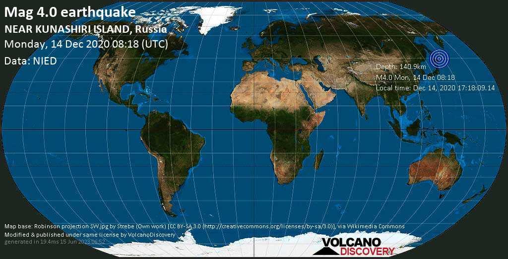 Light mag. 4.0 earthquake - Sea of Okhotsk, 17 km northwest of Otrada, Sakhalin Oblast, Russia, on Monday, 14 Dec 2020 6:18 pm (GMT +10)