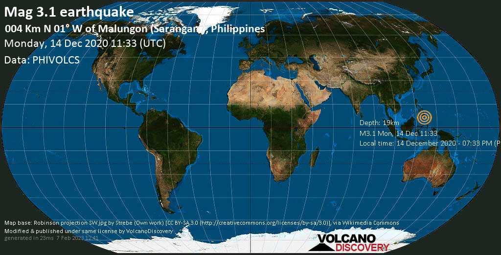 Weak mag. 3.1 earthquake - Province of Davao del Sur, Davao, 16 km north of Maluñgun (Soccsksargen), Philippines, on Monday, 14 Dec 2020 7:33 pm (GMT +8)