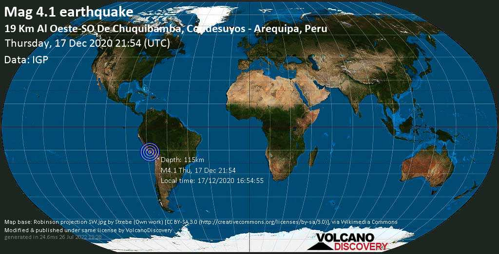 Light mag. 4.1 earthquake - 33 km southeast of Arirahua, Arequipa, Peru, on Thursday, 17 Dec 2020 4:54 pm (GMT -5)