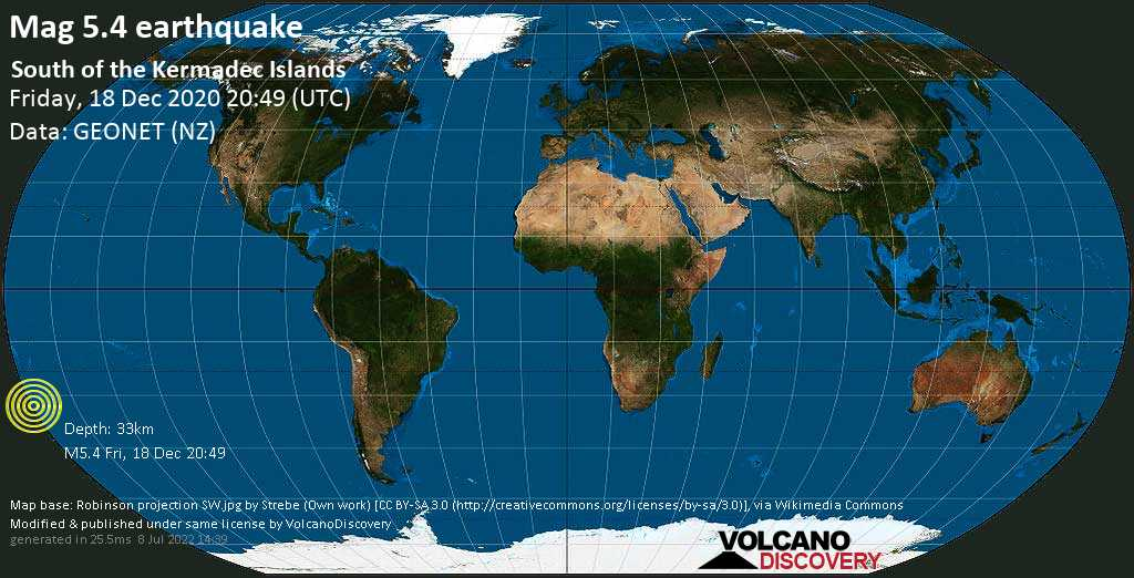 Moderate mag. 5.4 earthquake  - South Pacific Ocean, 1128 km northeast of Wellington, Wellington City, New Zealand, on Saturday, 19 Dec 2020 9:49 am (GMT +13)