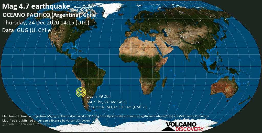 Light mag. 4.7 earthquake - South Pacific Ocean, 82 km west of Illapel, Provincia de Choapa, Coquimbo Region, Chile, on Thursday, 24 Dec 2020 9:15 am (GMT -5)